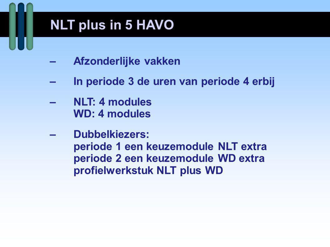 NLT plus in 5 HAVO – Afzonderlijke vakken