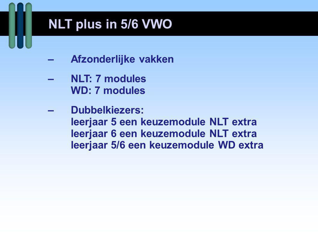 NLT plus in 5/6 VWO – Afzonderlijke vakken