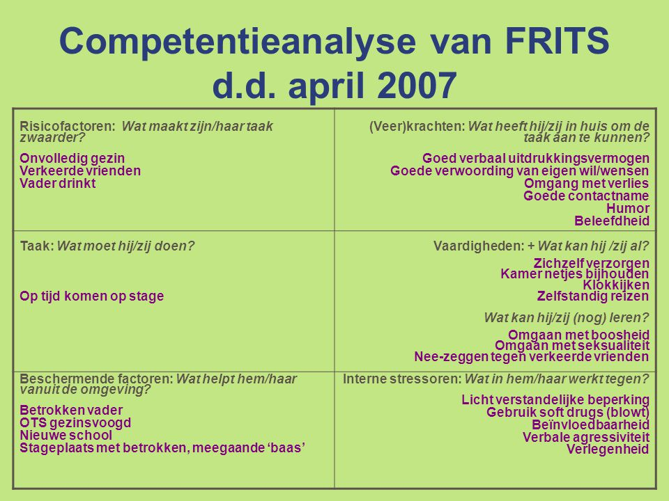 Competentieanalyse van FRITS d.d. april 2007