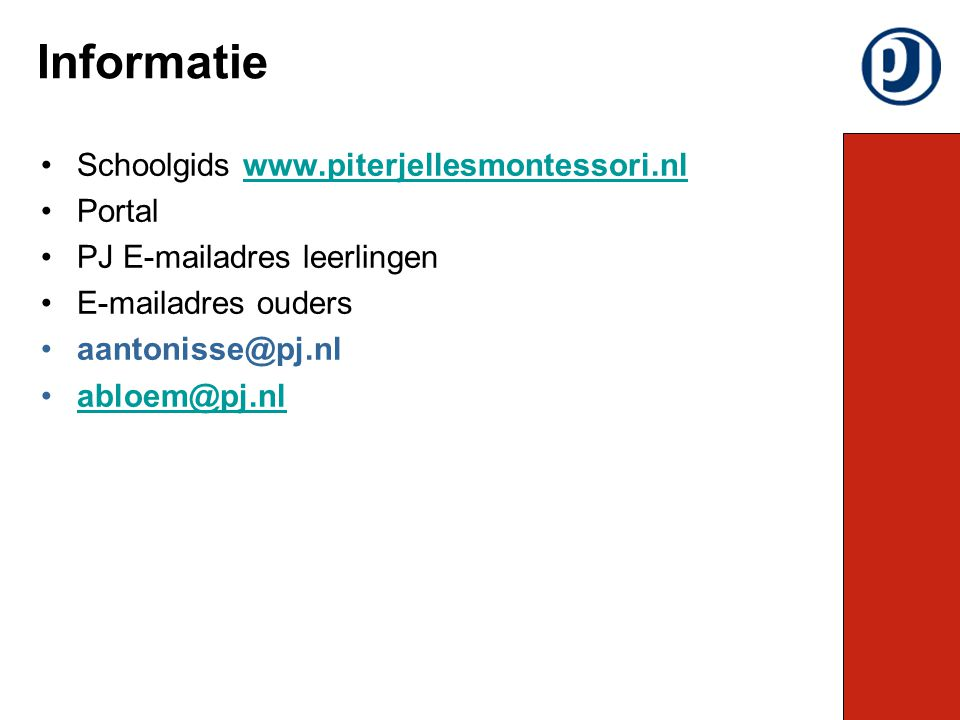 Informatie Schoolgids www.piterjellesmontessori.nl Portal