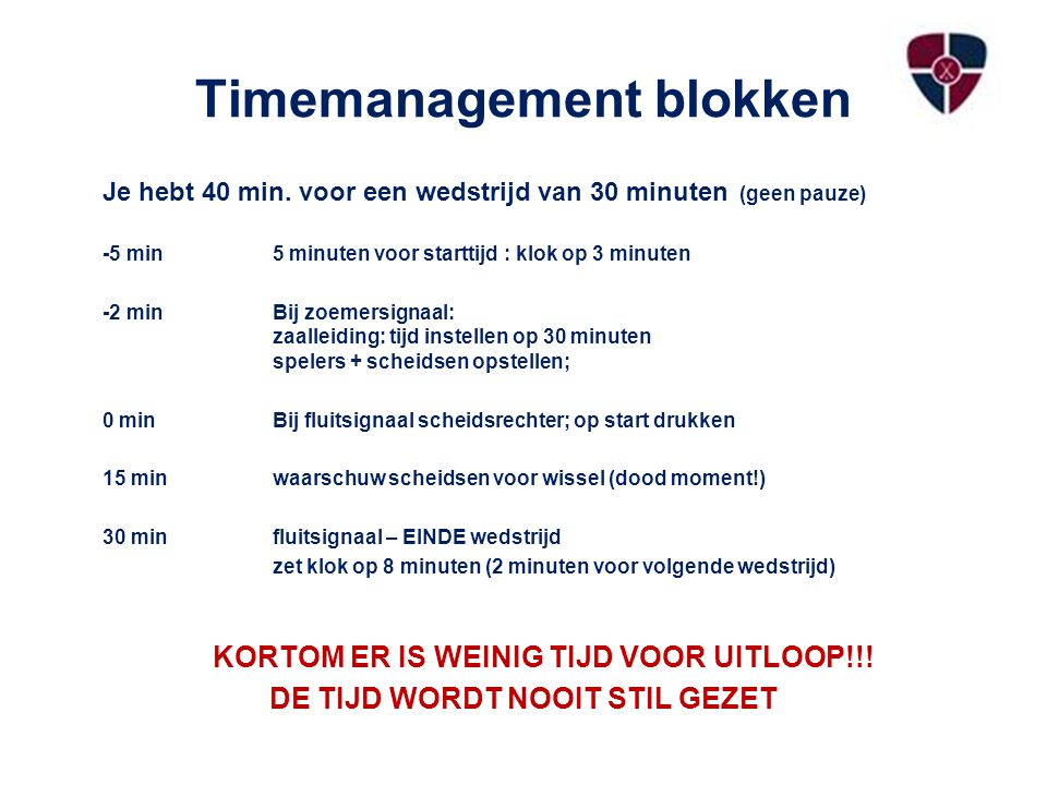 Timemanagement blokken