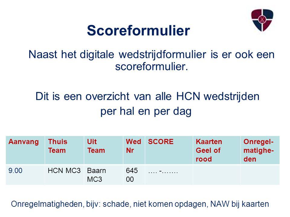 Scoreformulier Naast het digitale wedstrijdformulier is er ook een scoreformulier. Dit is een overzicht van alle HCN wedstrijden.