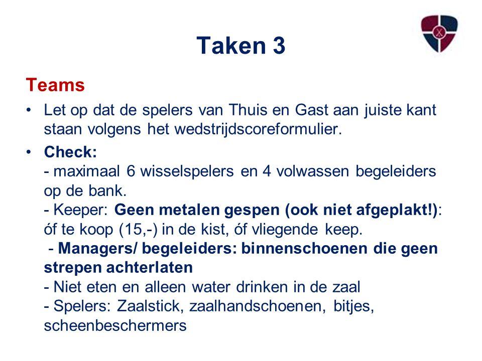 Taken 3 Teams. Let op dat de spelers van Thuis en Gast aan juiste kant staan volgens het wedstrijdscoreformulier.