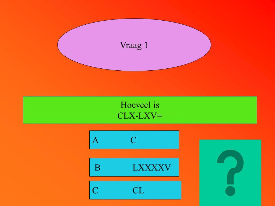 Vraag 1 Hoeveel is CLX-LXV= A C B LXXXXV C CL