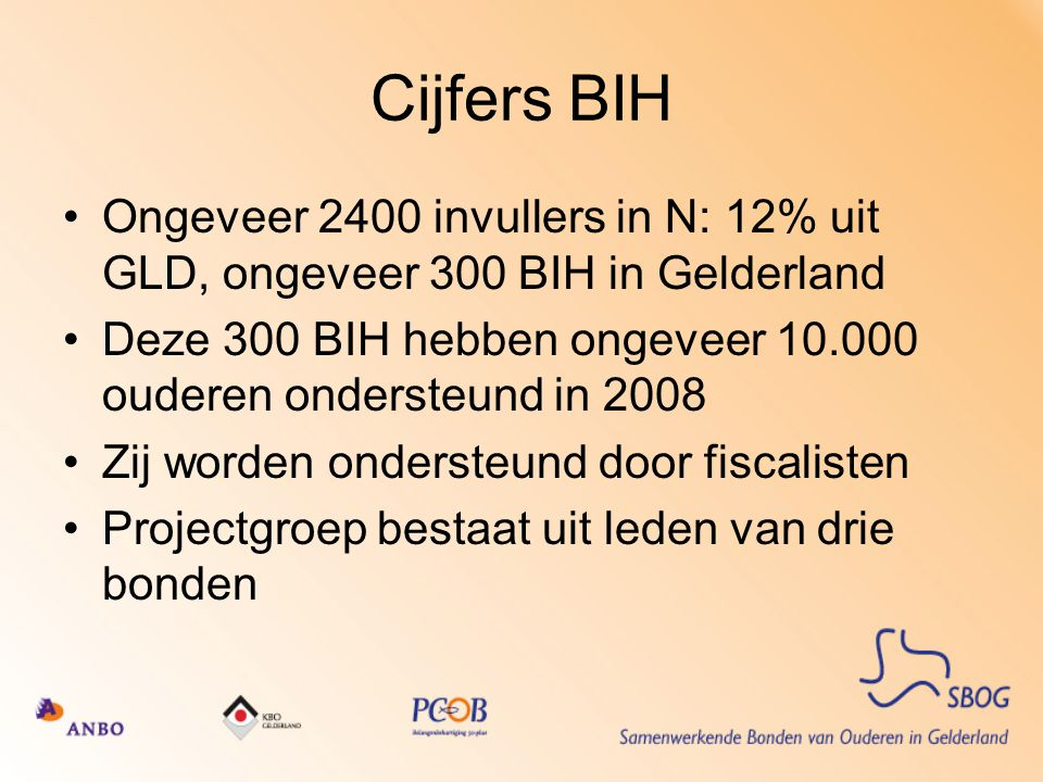 Cijfers BIH Ongeveer 2400 invullers in N: 12% uit GLD, ongeveer 300 BIH in Gelderland.