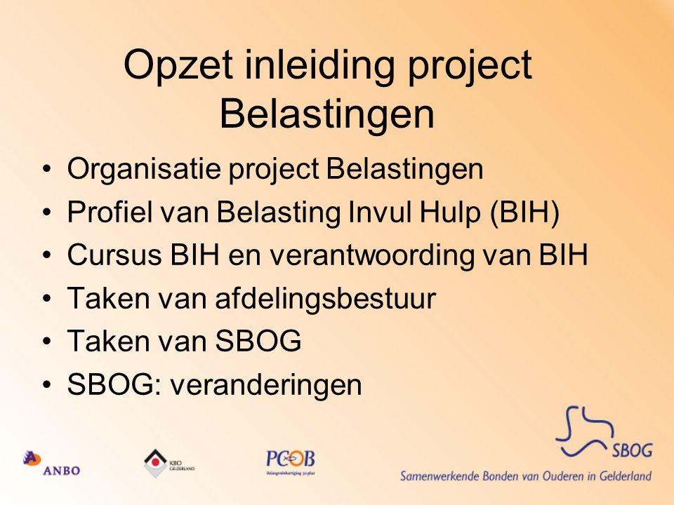 Opzet inleiding project Belastingen