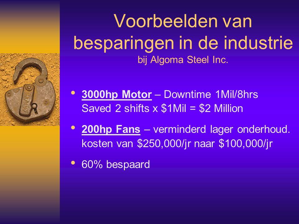 Voorbeelden van besparingen in de industrie bij Algoma Steel Inc.