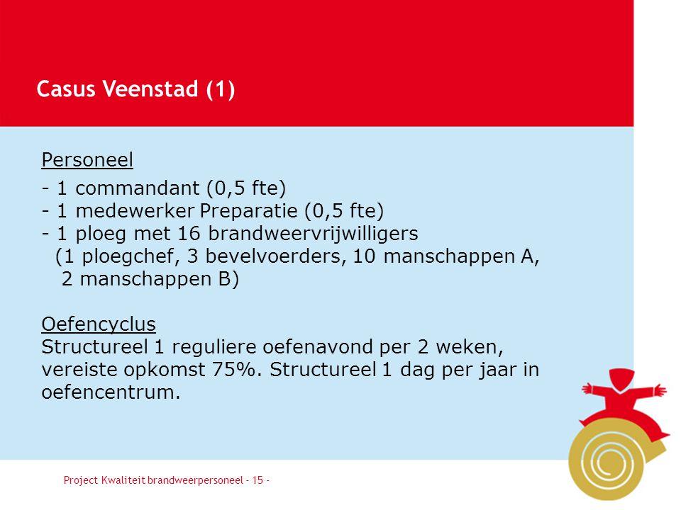 Casus Veenstad (1) Personeel - 1 commandant (0,5 fte)