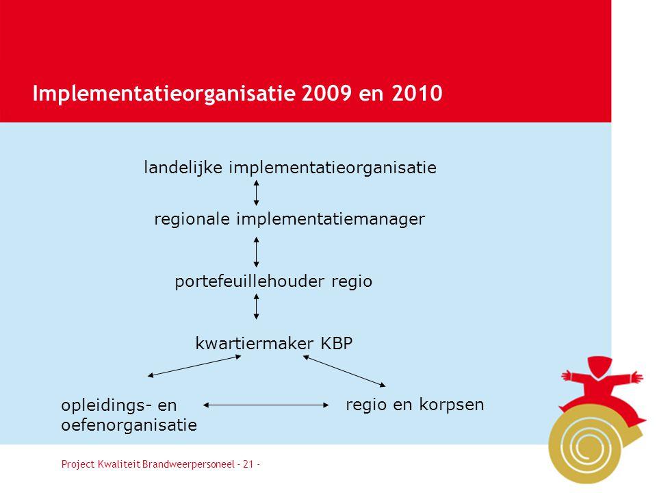 Implementatieorganisatie 2009 en 2010