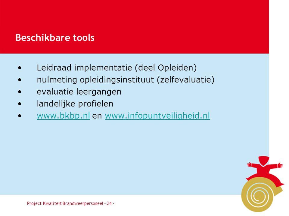 Beschikbare tools Leidraad implementatie (deel Opleiden)