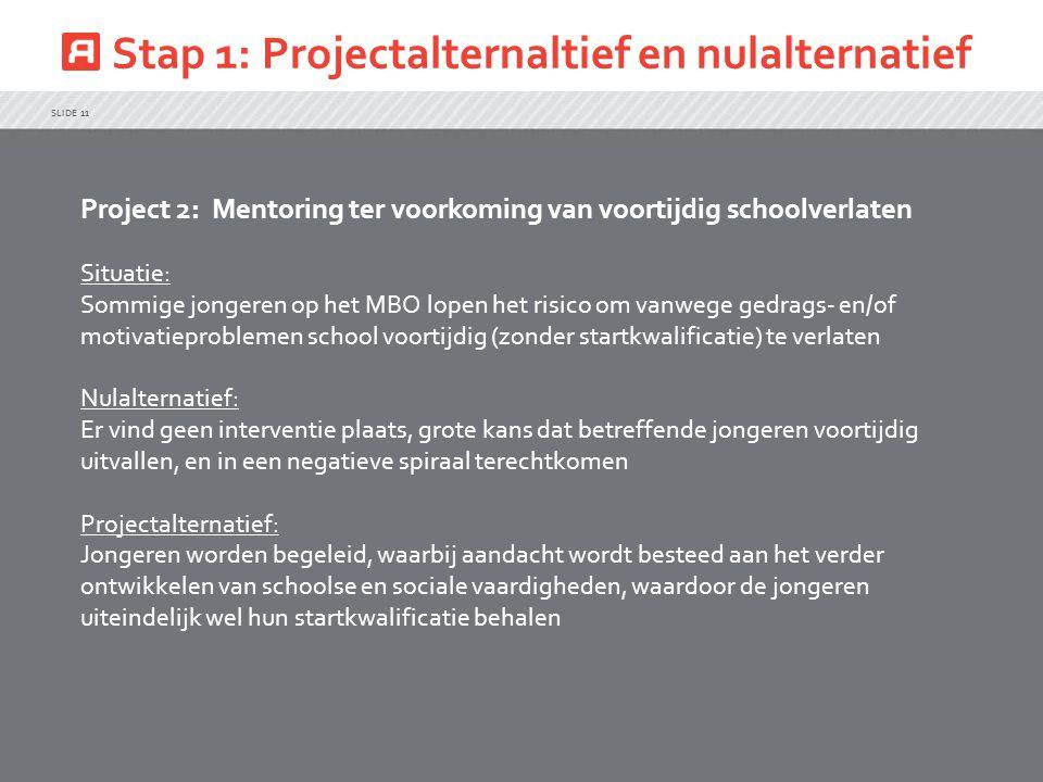 Stap 1: Projectalternaltief en nulalternatief