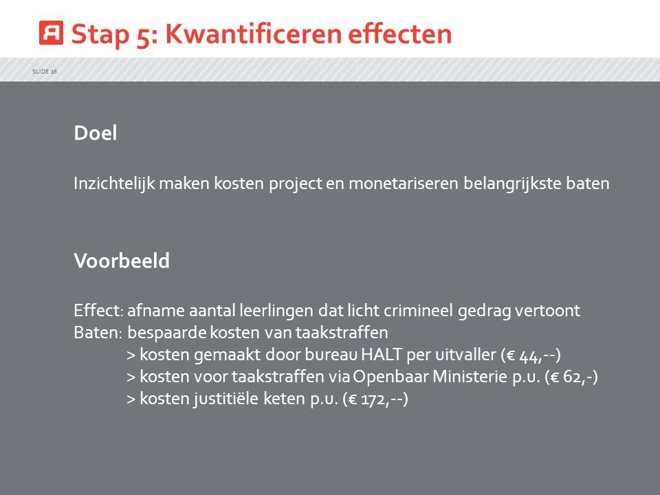 Stap 5: Kwantificeren effecten