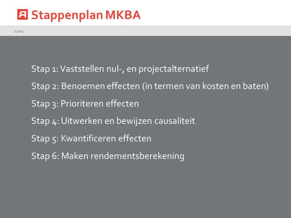 Stappenplan MKBA Stap 1: Vaststellen nul-, en projectalternatief