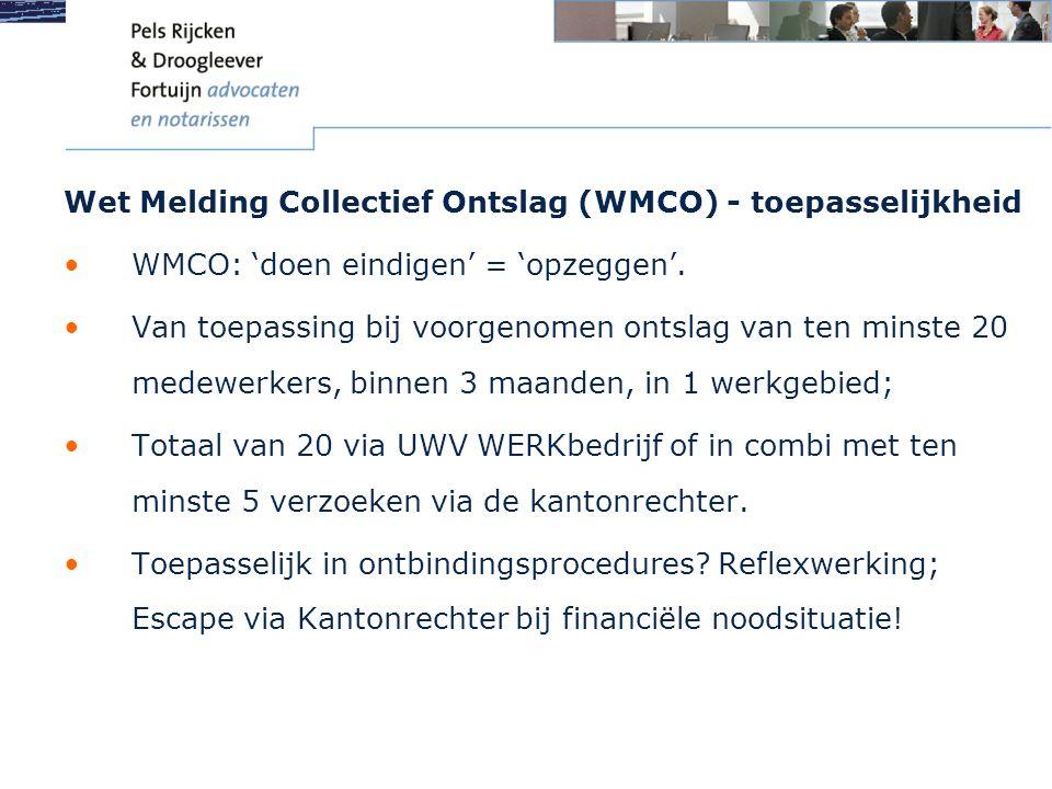 Wet Melding Collectief Ontslag (WMCO) - toepasselijkheid