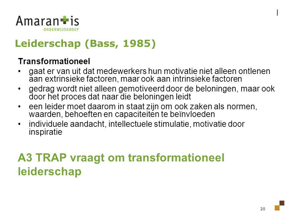 A3 TRAP vraagt om transformationeel leiderschap