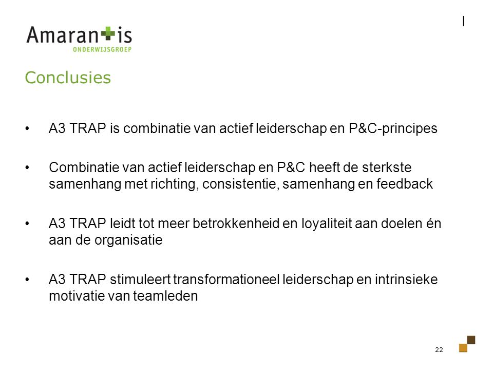 I Conclusies. A3 TRAP is combinatie van actief leiderschap en P&C-principes.