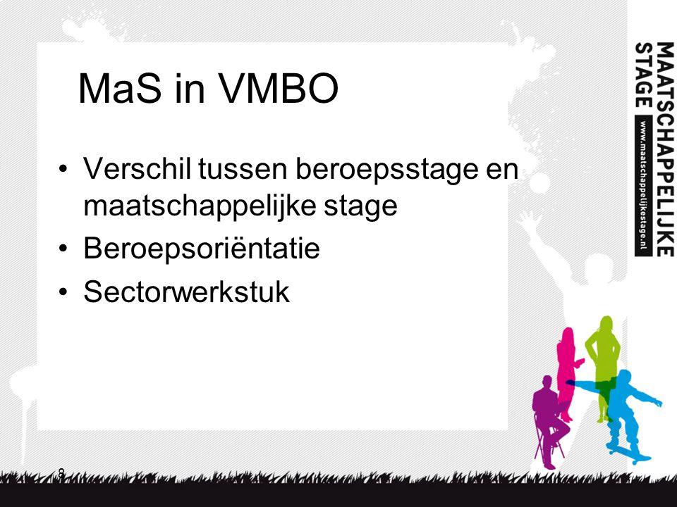 MaS in VMBO Verschil tussen beroepsstage en maatschappelijke stage