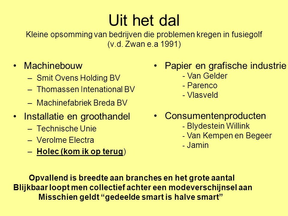Uit het dal Kleine opsomming van bedrijven die problemen kregen in fusiegolf (v.d. Zwan e.a 1991)