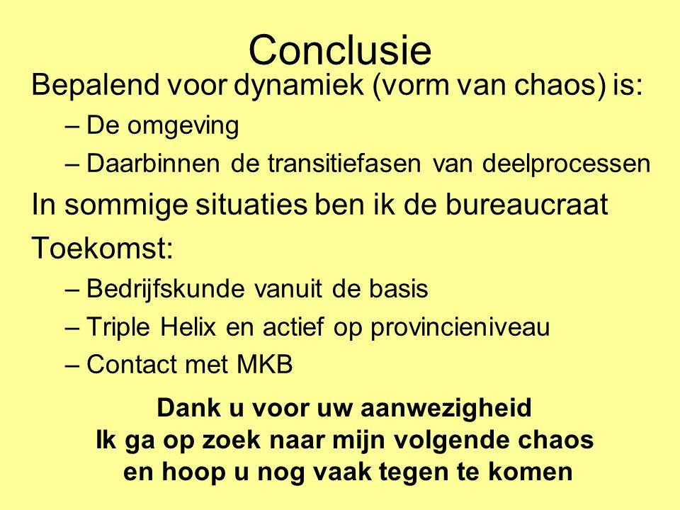 Conclusie Bepalend voor dynamiek (vorm van chaos) is: