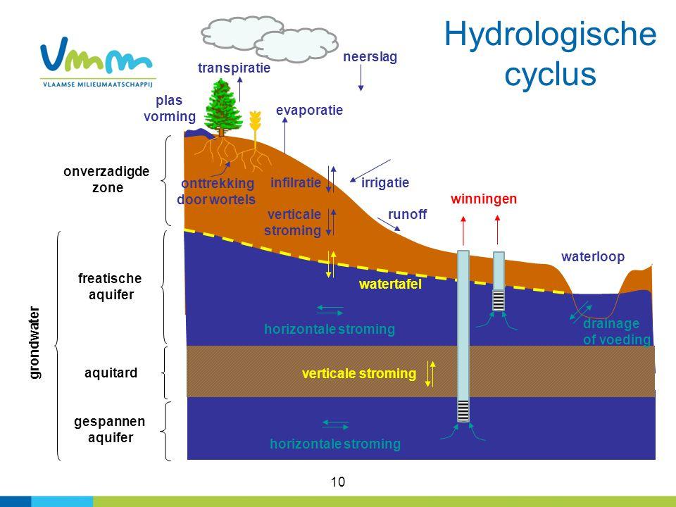 Hydrologische cyclus neerslag transpiratie plas vorming evaporatie