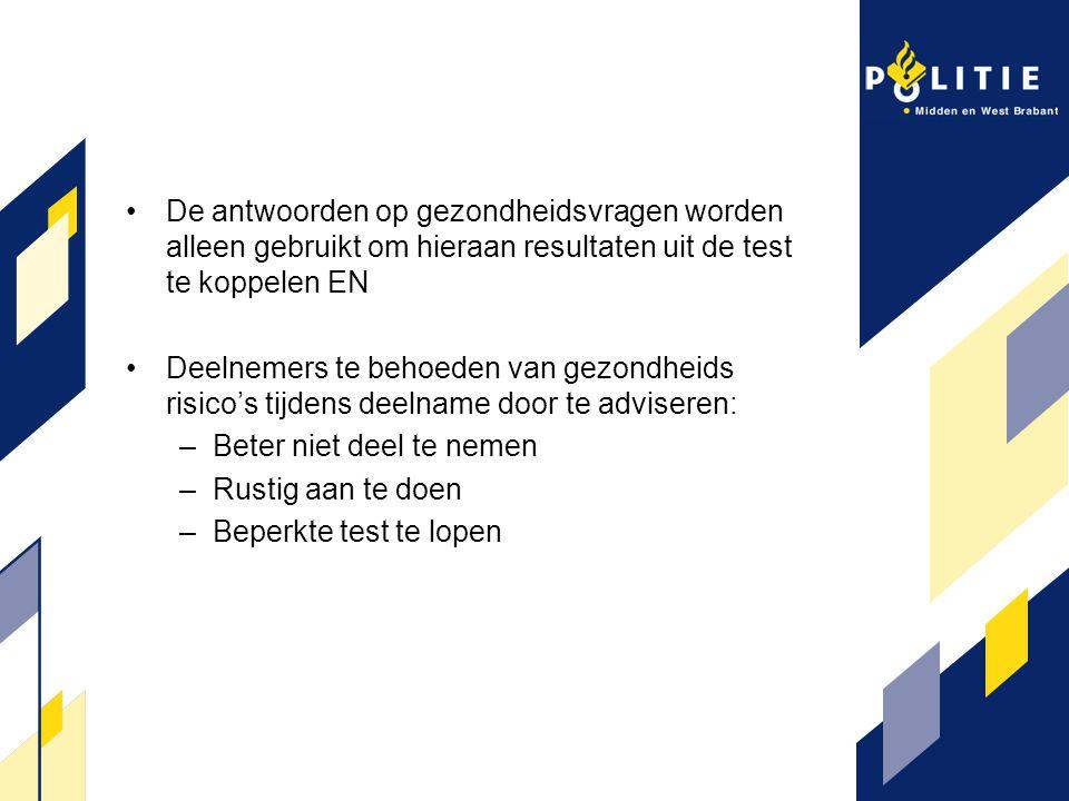 De antwoorden op gezondheidsvragen worden alleen gebruikt om hieraan resultaten uit de test te koppelen EN