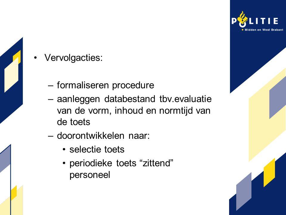 Vervolgacties: formaliseren procedure. aanleggen databestand tbv.evaluatie van de vorm, inhoud en normtijd van de toets.