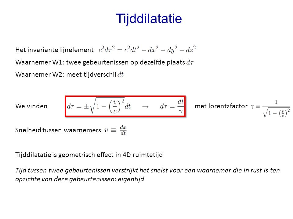 Tijddilatatie Het invariante lijnelement