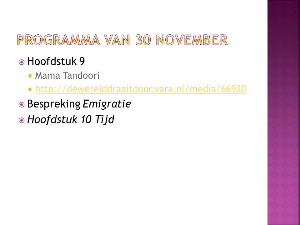 Programma van 30 november