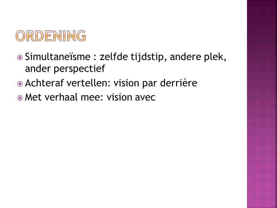 ordening Simultaneïsme : zelfde tijdstip, andere plek, ander perspectief. Achteraf vertellen: vision par derrière.