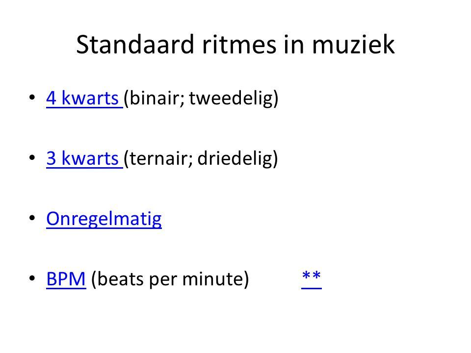 Standaard ritmes in muziek
