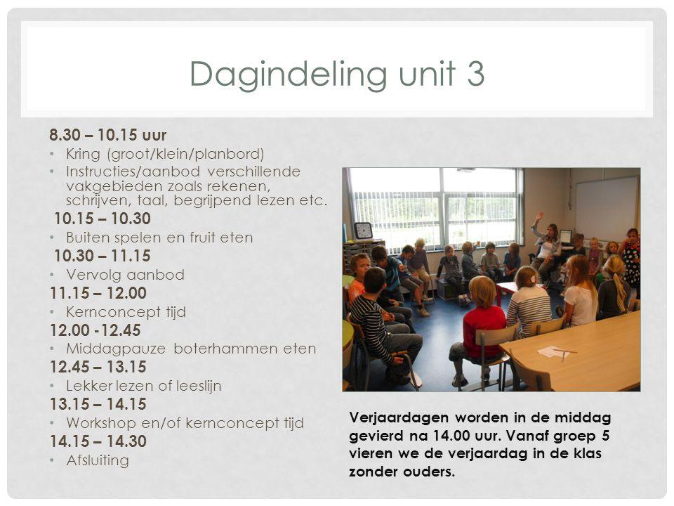 Dagindeling unit 3 8.30 – 10.15 uur 10.15 – 10.30 10.30 – 11.15