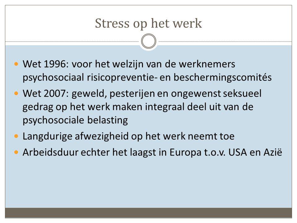 Stress op het werk Wet 1996: voor het welzijn van de werknemers psychosociaal risicopreventie- en beschermingscomités.