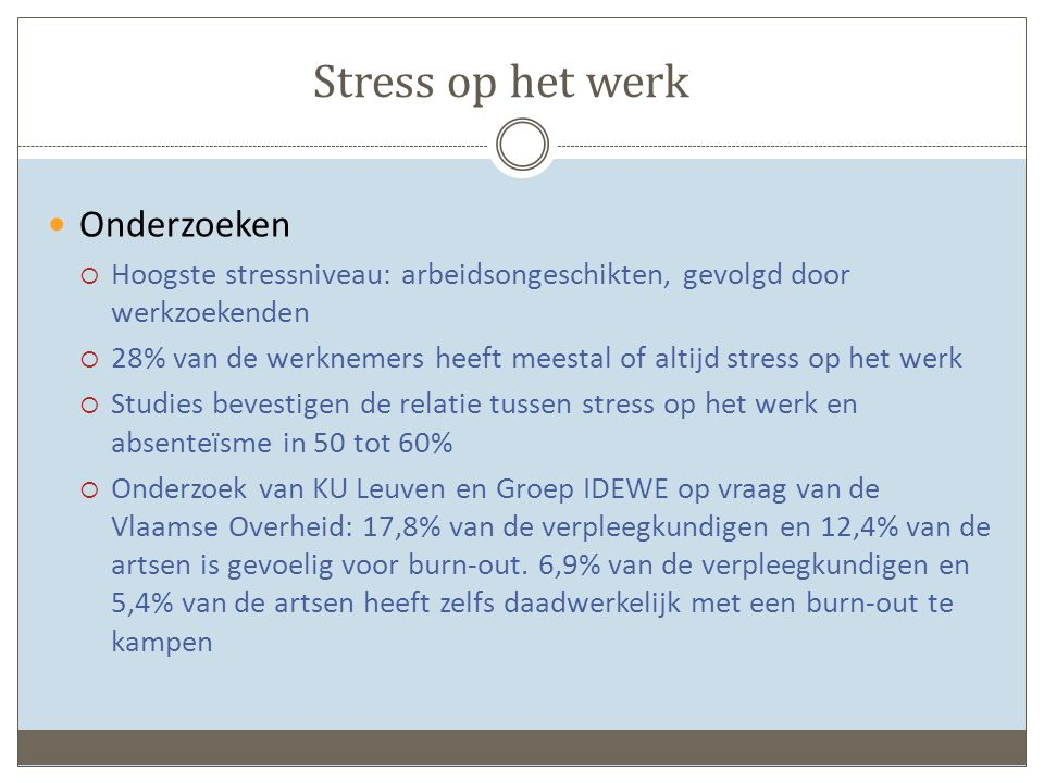 Stress op het werk Onderzoeken