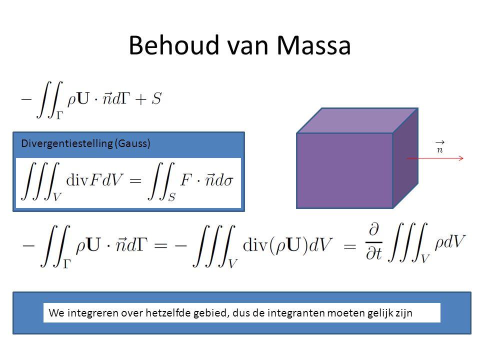 Behoud van Massa 𝑛 Divergentiestelling (Gauss)