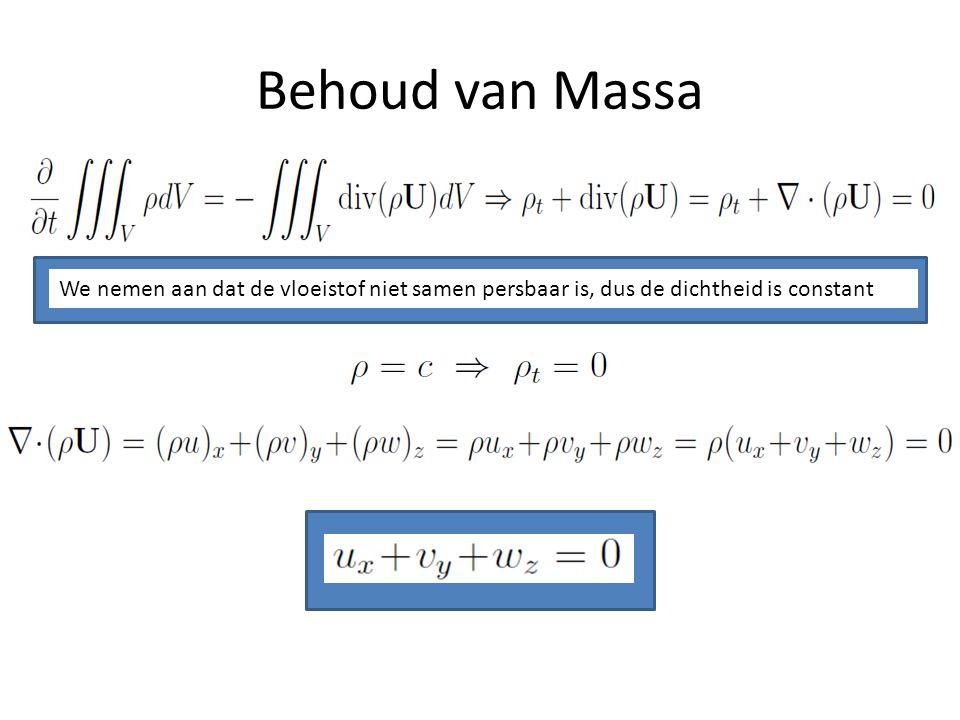 Behoud van Massa We nemen aan dat de vloeistof niet samen persbaar is, dus de dichtheid is constant