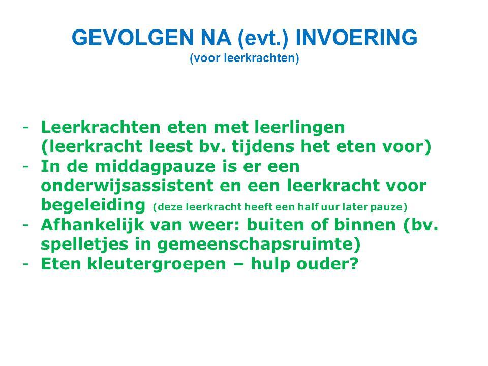 GEVOLGEN NA (evt.) INVOERING (voor leerkrachten)
