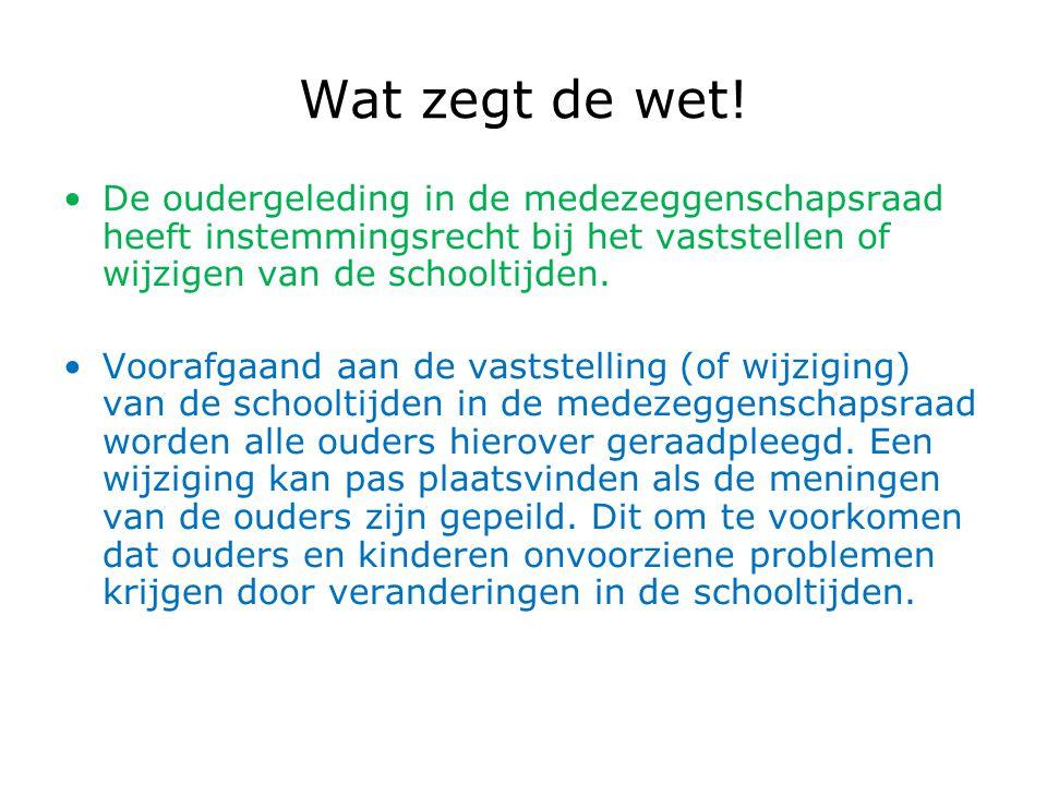Wat zegt de wet! De oudergeleding in de medezeggenschapsraad heeft instemmingsrecht bij het vaststellen of wijzigen van de schooltijden.