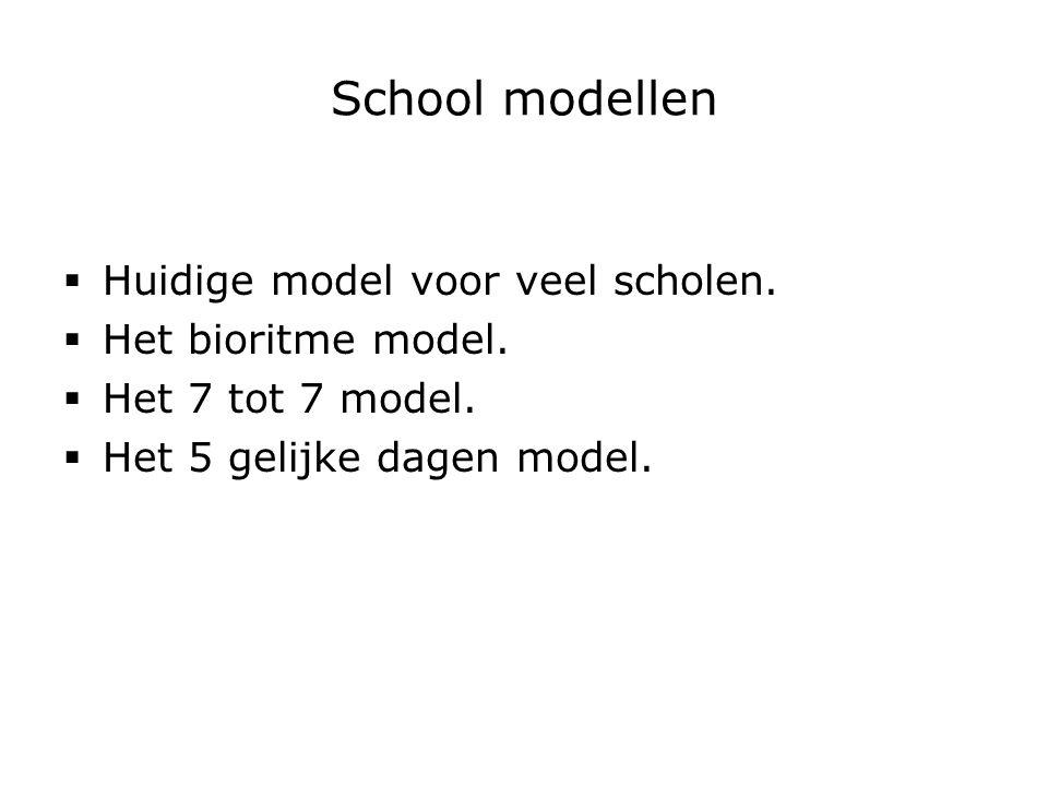 School modellen Huidige model voor veel scholen. Het bioritme model.