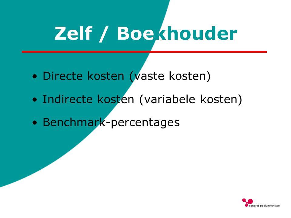 Zelf / Boekhouder Directe kosten (vaste kosten)