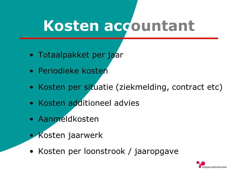 Kosten accountant Totaalpakket per jaar Periodieke kosten