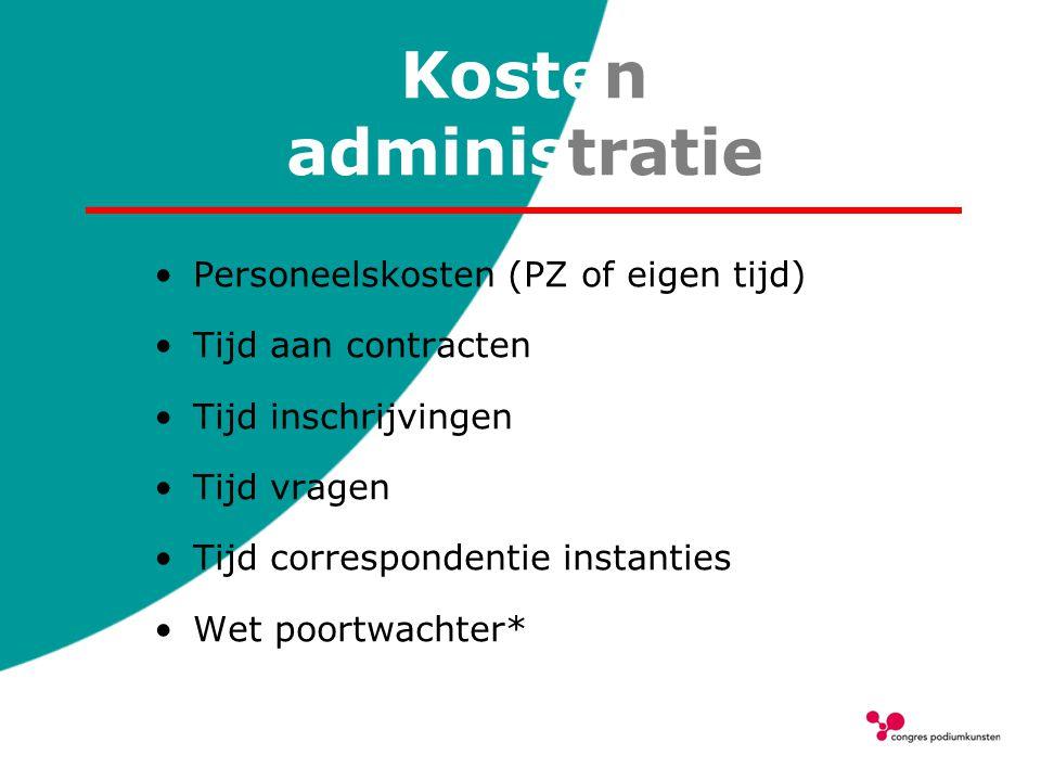 Kosten administratie Personeelskosten (PZ of eigen tijd)