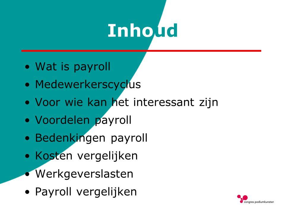 Inhoud Wat is payroll Medewerkerscyclus