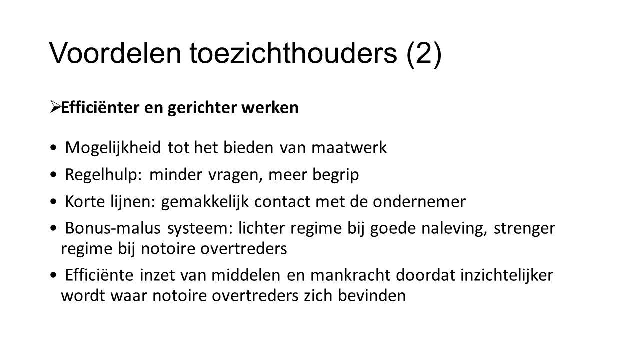 Voordelen toezichthouders (2)