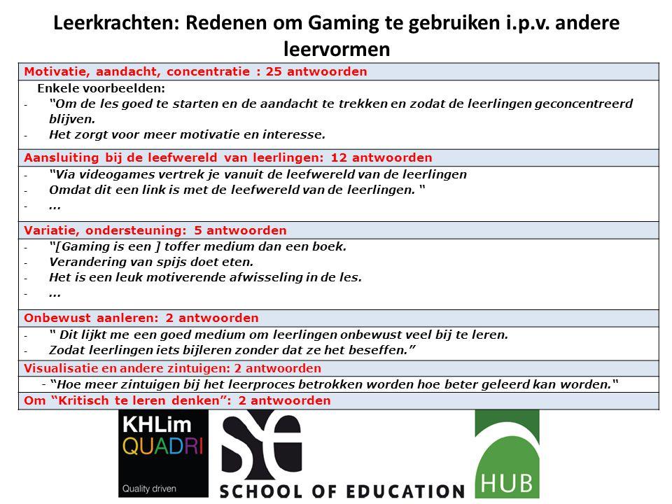Leerkrachten: Redenen om Gaming te gebruiken i.p.v. andere leervormen