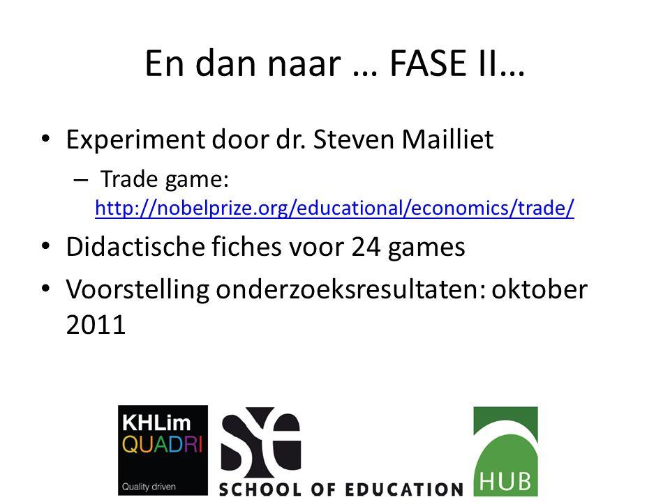 En dan naar … FASE II… Experiment door dr. Steven Mailliet