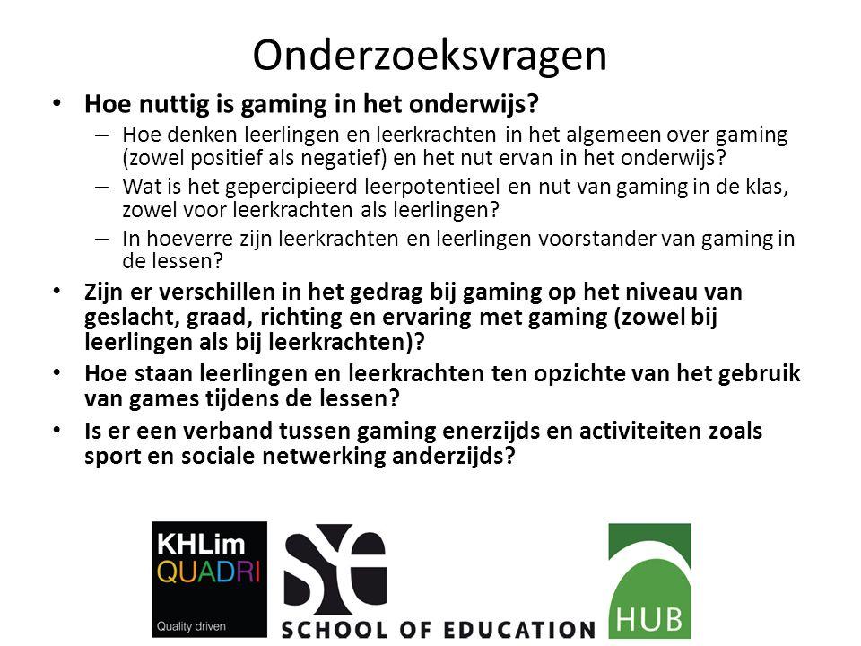 Onderzoeksvragen Hoe nuttig is gaming in het onderwijs