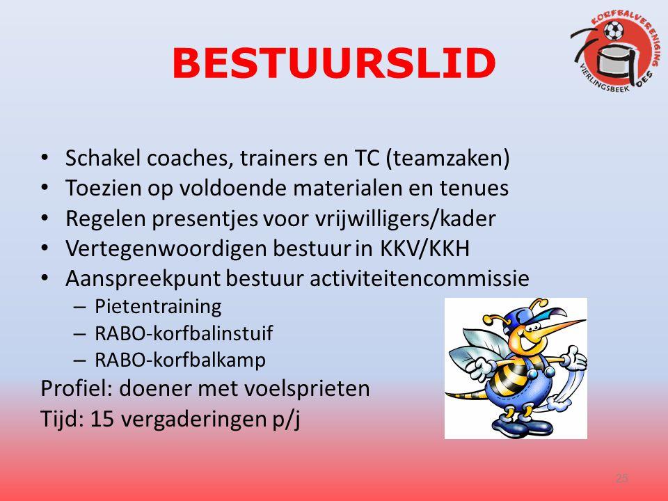 BESTUURSLID Schakel coaches, trainers en TC (teamzaken)