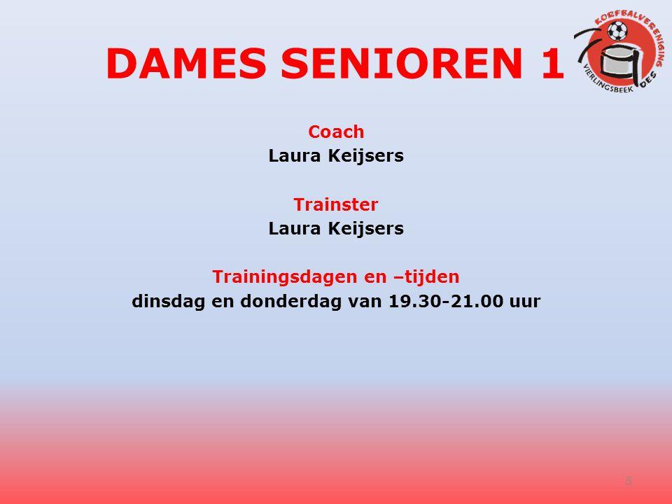 DAMES SENIOREN 1 Coach Laura Keijsers Trainster Trainingsdagen en –tijden dinsdag en donderdag van 19.30-21.00 uur