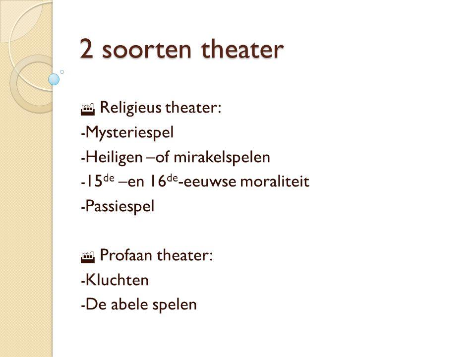 2 soorten theater Religieus theater: Mysteriespel