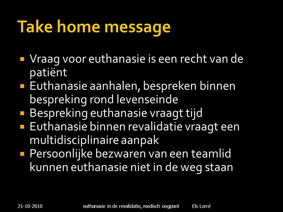 Take home message Vraag voor euthanasie is een recht van de patiënt